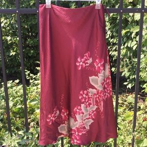 Burgundy wine red silk floral pattern skirt sz6 M